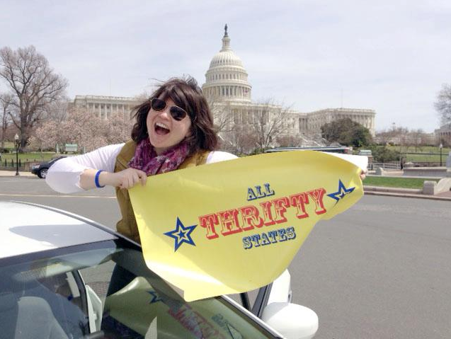 Jenna and her thrifty touring vehicle, HaRVey2, leaving DC on April 6, 2013