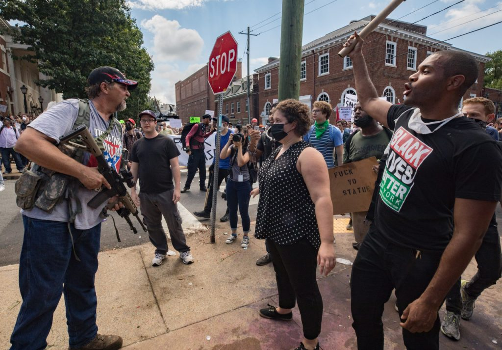 CHARLOTTESVILLE,VA-AUG12: Clashes at the Unite the Right rally in Charlottesville, VA, August 12, 2017. (Photo by Evelyn Hockstein/For The Washington Post)